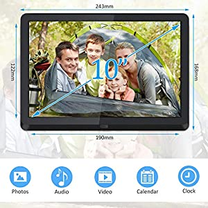 Digital Photo Frame, 10 Inch Digital Picture Frame 1920 * 1080(16:9) Widescreen IPS Display,Auto-Rotate,Remote Control…