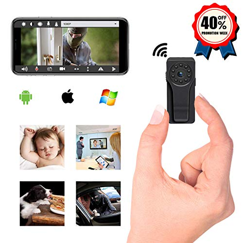 Spy Camera WiFi Hidden Camera for Home Office Security, HD 1080P WiFi Nanny Cam with Motion Detection Recording, Night Vision Mini Spy Camera with Clip Design, fit Indoor Outdoor Using Bo