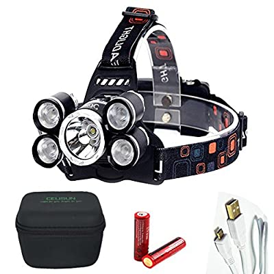 CELISUN Rechargeable Headlamp, Brightest 4 Modes LED Headlight, Waterproof Flashlight with EVA Storage Box