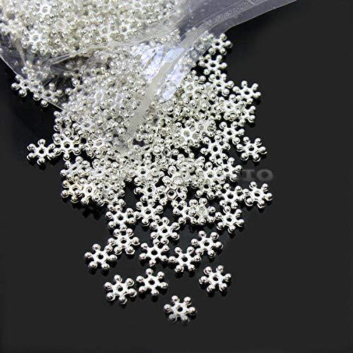 (FidgetKute Wholesale Lot 500 Pcs DIY Silver Snowflake Spacer Beads 8mm Craft Findings New)