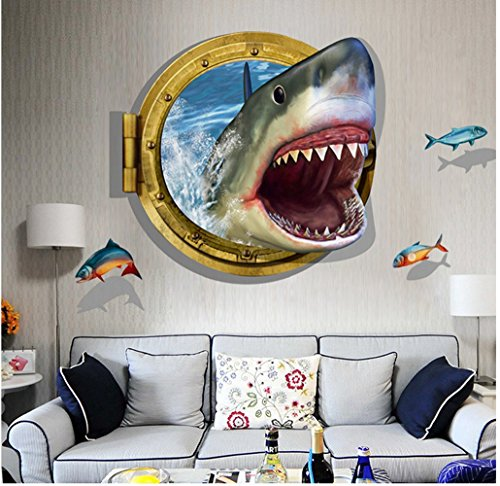 Large Blue Sky 3D Self-adhesive Removable Break Through the Wall Vinyl Wall Sticker/Mural Art Decals Decorator (Shark Mouth (60 x 90cm))