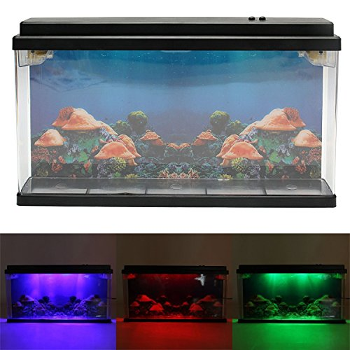 Caveen Moving Jelly Fish Tank with LED Lights, 3D Backing - Fantastic Gift! 12 Change LED Light and 7 Color Light Effects. by Caveen