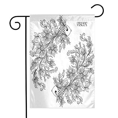 Zodiac Garden Flag Floral Images Pisces Sign Fish House of The Water Element Sensitivity Planet Sign Premium Material W12 x L18 Black White