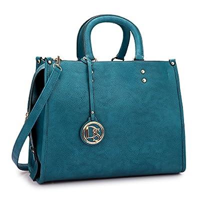 Dasein Pebbled Designer Faux Leather Tassel Satchel Handbag Top Handle Bag With Shoulder Strap