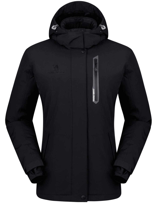 CAMEL CROWN Women's Mountain Snow Waterproof Ski Jacket Detachable Hood Windproof Fleece Parka Rain Jackt Winter Coat Black L by CAMEL CROWN