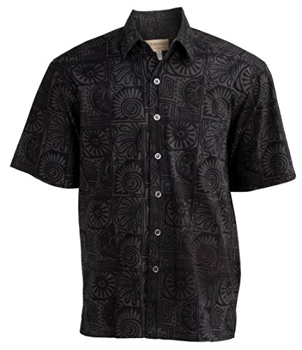 Johari West Indo Bay Tropical Hawaiian Cotton Batik Shirt (3XLT, Ink)]()