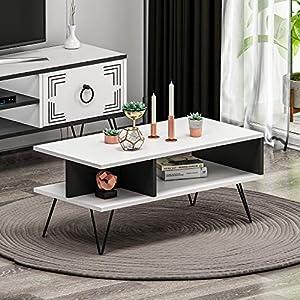 HOMIDEA Milestone Meuble TV – Banc TV – Meuble de Rangement avec Pieds en métal au Design Rustique pour Salon ( Blanc )