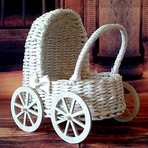 Miniature carriage, handmade wicker dollhouse pram. White trolley with mattress. 1/6 scale doll baby bed