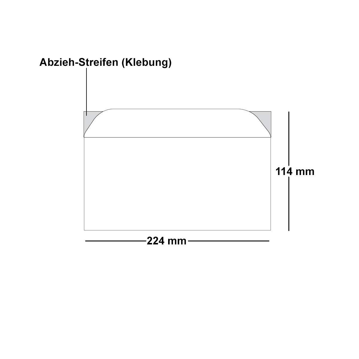 DL 224x114 mm Umschl/äge mit Haftklebung Abziehstreifen Kuvert ohne Fenster ARTOZ 25x Briefumschl/äge DIN Lang Wei/ß 100 g//m/² selbstklebend