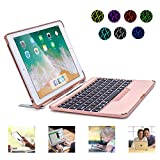iPad Keyboard Case Detachable - Naxxlab iPad 9.7 Keyboard Case for 6th 5th Gen Pro9.7 Air2 Air1 - Slim Tablet Folio Case with Bluetooth 4.0 Wireless Backlit Keyboard - All in 1 iPad Case (Rosegold)
