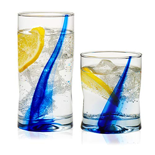Libbey Blue Ribbon Impressions 16-Piece Tumbler and Rocks Glass - Glasses Water Stripe