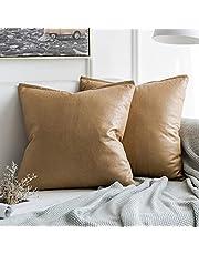 MIULEE Pack van 2 decoratieve faux lederen moderne kussensloop case kussenhoezen kussenslopen voor woonkamer sofa slaapkamer 18x18 inch 45x45cm