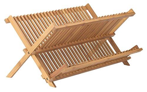 Cimostar Bamboo Folding Dish Rack,Dish Drying Rack Drainer S