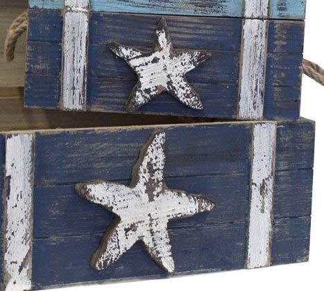 Porta Giochi forziere da Pirata Tris 3 forzieri del Tesoro Mare Blu con Stella Keyhome Scrigno in Legno Baule portaoggetti cassapanca Decorata