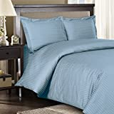 Royal Hotel's Full size Striped Blue 300-Thread-Count 3pc Duvet-Cover-Sets and 1pc Siberian Goose Down Alternative Comforter 100 percent Cotton 100% Cotton