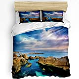 3 Piece Duvet Cover Set,Queen Size Luxury Bedding with 1 Quilt Cover and 2 Pillowcases-Sky Lightning Sea Surface Reef,Zipper Closure,Corner Ties