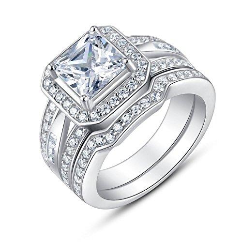Sterling Silver Split Shank Princess Cut Cubic Zirconia Bridal Engagement Wedding Ring Set
