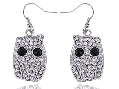 [Alilang Halloween Wide Eye Ghost Owl Bling Clear Crystal Rhinestone Dangle Drop Earrings] (Night Owl Costume Party City)
