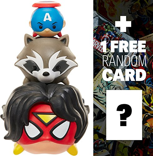 Spider-Woman, Rocket Raccoon, Captain America: Marvel Tsum Tsum 3-Micro-Figure Pack Series #1 + 1 FREE Official Marvel Trading Card ()