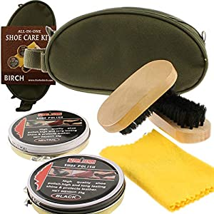 Charles Birch 5 Piece Shoe Care Kit – including a Khaki Nylon Zip Bag, Black Polish, Neutral Polish, a Cloth and 2 Oval Wooden Brushes