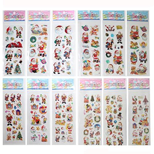 Homezal Stickers for Kids, 12 Sheet 3D Stickers, Scrapbook Stickers A Great Hit at Christmas for Children, Teachers & Friends