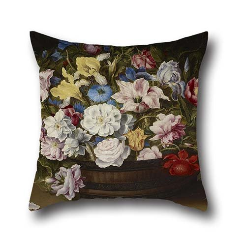 God Basket - Oil Painting Osias Beert - Basket Of Flowers Pillowcase ,best For Kids Room,play Room,father,wife,office,saloon 20 X 20 Inch / 50 By 50 Cm(2 Sides)