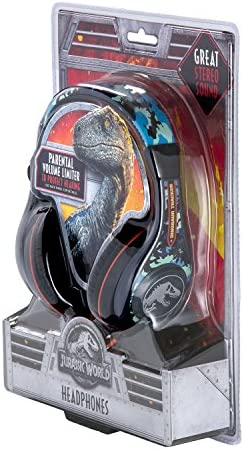 Jurassic World 2 Kids Headphones, Adjustable Headband, Stereo Sound, 3.5Mm Jack, Wired Headphones for Kids, Tangle-Free, Volume Control, Childrens Headphones Over Ear for School Home, Travel 51ebcztHSLL