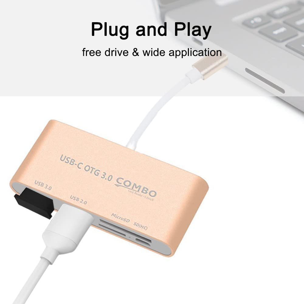 adaptateur de port USB C vers USB Sourceton alimentation USB 3.0 type A lecteur de carte micro SD ultra rapide et SD TF Lecteur de carte Micro SD // MMC // SD USB C