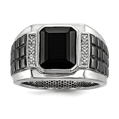 (14K White Gold Over Black Square Onyx And Round Diamond Men's Ring Size 9)