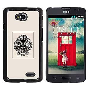 GOODTHINGS Funda Imagen Diseño Carcasa Tapa Trasera Negro Cover Skin Case para LG Optimus L70 / LS620 / D325 / MS323 - tigre gato de la casa dibujo lindo gatito