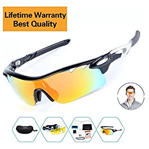 Sports Sunglasses For Men Women Cycling Glasses Polarized Baseball Running Fishing Driving Golf With 5 Interchangeable Lenses (Black-silver hotsale, 5 lens)