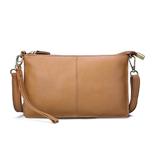 Mynos Genuine Leather Vintage Small Women Crossbody Bag Clutch Purse Wristlet (Khaki)