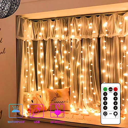 Curtain Lights String,USB Powered Curtain Fairy Lights,(300 LED 9.8Ftx9.8Ft) IP64 Waterproof Twinkle Wall Lights for Bedroom,Wedding,Christmas Decorations,Warm White (Lights Curtain Icicle)