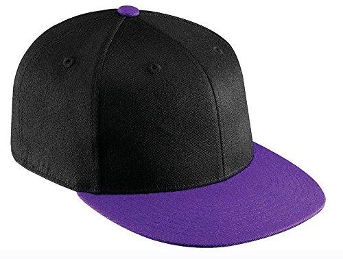 Purple Fitted Hat Cap - Flexfit Premium Original Blank Flatbill Fitted 210 Hat