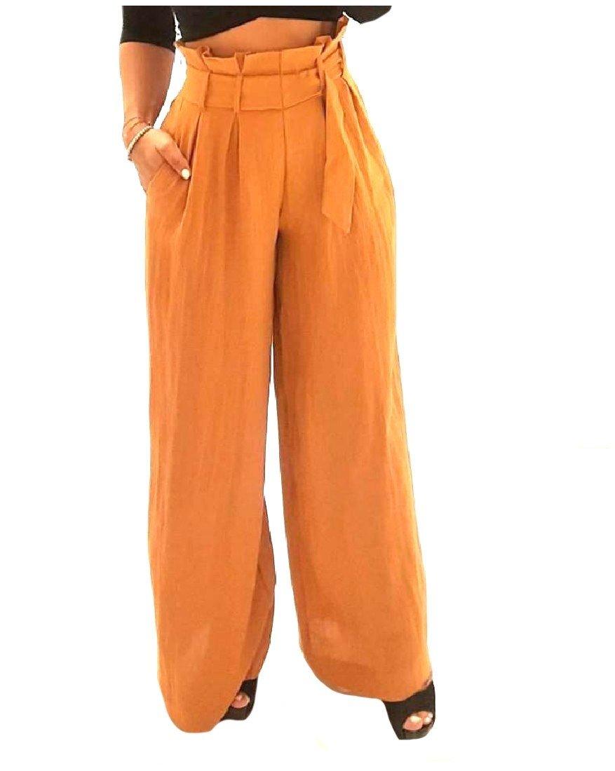 Zago Womens Belt Highwaist Solid Colored Fine Cotton Wide Leg Pants Yellowish Brown S