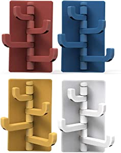 Surogar Self Adhesive Heavy Duty 20 lb(Max) Wall Hooks& Ceiling Hanger,Organize and Decorate Your Kitchen Bathroom Ceiling Office (4 Pack 4 Colour)