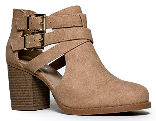 J. Adams Cut Out Buckle Ankle Bootie - Low Stacked Wood Heel Western Round Boot - Vegan Leather Sammi by