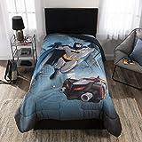 Warner Bros Batman Bedding Soft Microfiber Reversible Comforter, Twin/Full, Grey/Blue