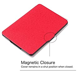 Daorier Leather Case Suitable for Kindle Paperwhite 1/2/3 PU Leather Non-slip Hard Case Protective Cover Leather Case Stand Cover with Sleep/Wake Smart Cover Function -Pink