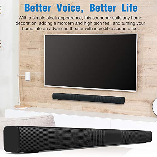 Soundbar for TV, Home Audio Sound Bar Built-in Subwoofer, Wired and Wireless Bluetooth 5.0 Speaker for Home Theater, 2.0 Channel Soundbars with Remote Control, Coaxial/Optical/Aux/RCA Connection