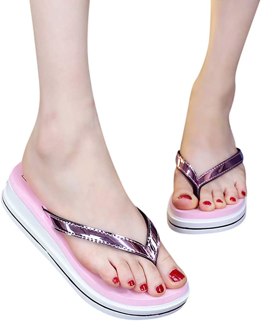 Surttan chanclas para Mujer de Verano Zapatillas de Playa Zapatos de Playa Sandalias Casuales Moda al Aire Libre con Chanclas Zapatillas de cu/ña de Color Salvaje