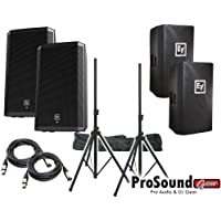 Electro-Voice ZLX-15P 15 2-Way Powered Loudspeaker / (2) ZLX15P Cover / (2) Xlr to Xlr Cables 20ft ea / (Pair) Speaker Stand w/ Bag / (ProSoundGear Authorized Seller)