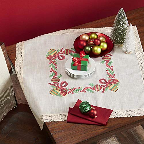 - Herrschners® Holiday Ornaments Table Topper with Lace Stamped Cross-Stitch Kit