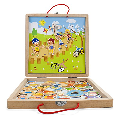 Four Seasons 41-piece Magnetic Playset with Sturdy Carry Case by Imagination Generation's Wooden Wonders