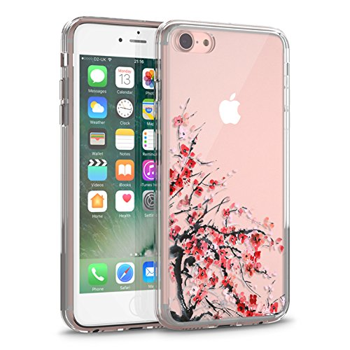 """iPhone 7 Case, Clear iPhone 7 Case, CASESOCIETY Cherry Blossom Transparent Clear Design Sleek Hard Plastic with TPU Rubber Bumper Protective Back Phone Case Cover for Apple iPhone 7 (4.7"""")"""
