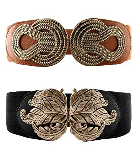 (VOCHIC 2pcs Vintage Metal Interlock Buckle Elastic Waist Belt Womens Basic Wide Stretchy for Dress)