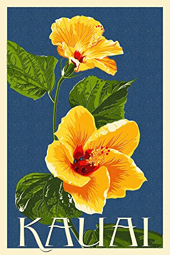 - Kauai, Hawaii - Yellow Hibiscus - Letterpress (12x18 Art Print, Wall Decor Travel Poster)