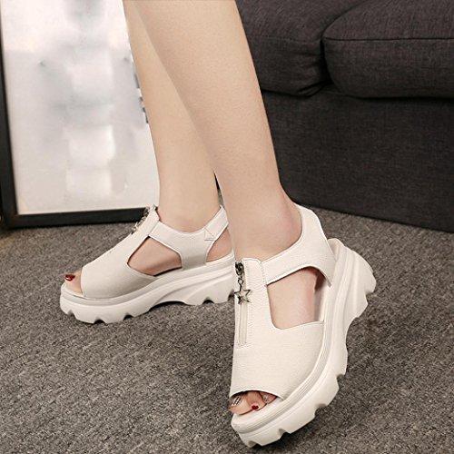 Hunpta Frauen Fisch Mund Schuhe Sommer Sandalen Casual Platform Wedges Sandalen Schuhe Beige