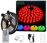 LED Strip Light MINGER 16.4ft(5m)RGB SMD 5050 LED Rope Lighting Color Changing Full Kit with 44-keys IR Remote Controller & 2A Power Supply LED Lighting Strips for Home Lighting Kitchen Christmas Indoor Decora