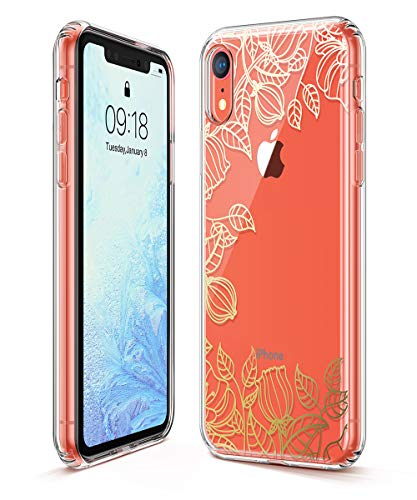 GVIEWIN Trend Case Compatible for iPhone XR, Hard Back Cover + Soft TPU Bumper Edge with Shining Pattern Design for iPhone XR 6.1
